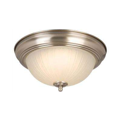 11 in. 100-Watt Equivalent Brushed Nickel Integrated LED Flush Mount with Frosted Glass Shade (2-Pack)