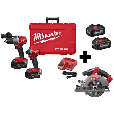 M18 FUEL 18-Volt Lithium-Ion Brushless Cordless Hammer Drill/6-1/2 in. Circular Saw/ Impact Driver with 4-Batteries