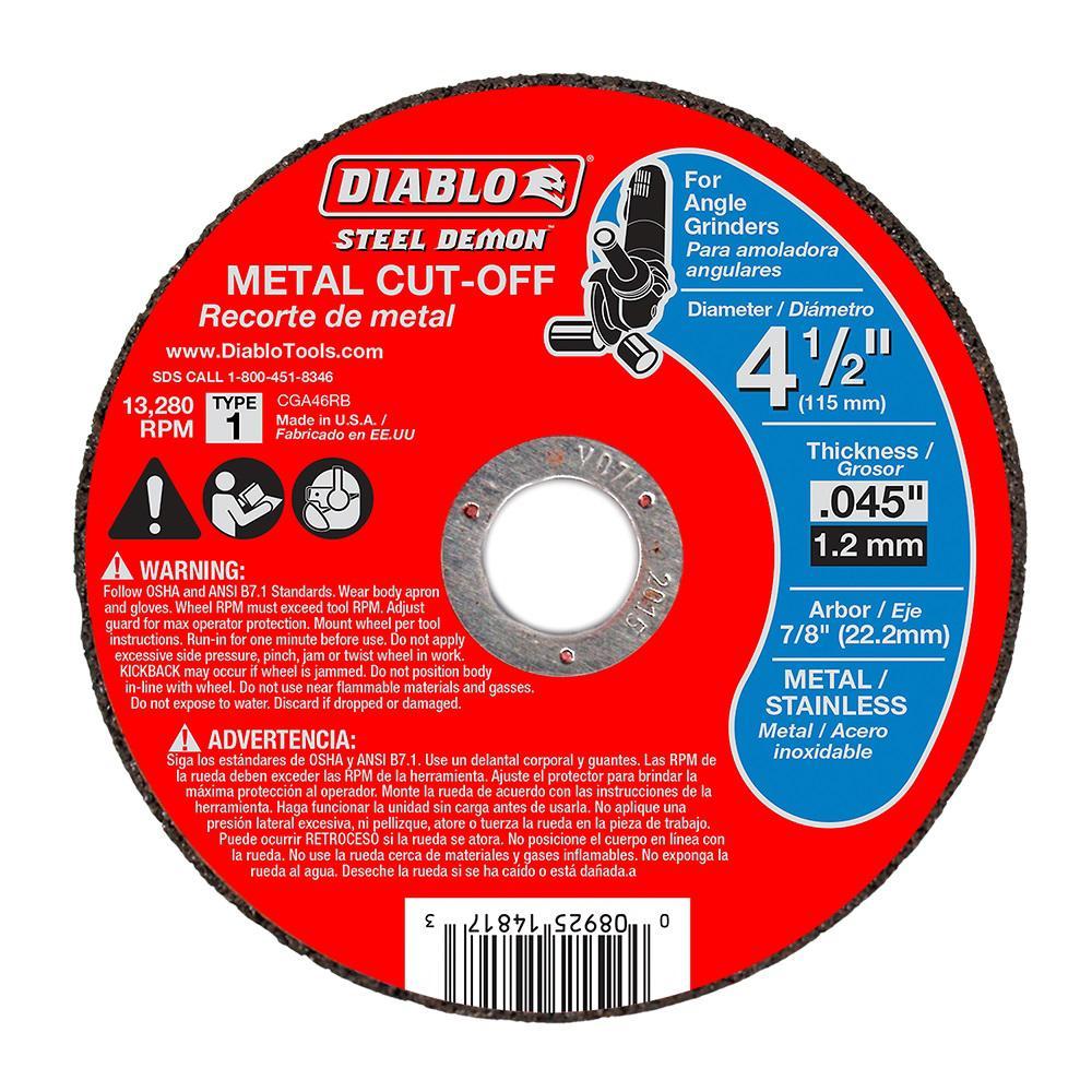 Diablo Steel Demon 4-1/2 in. x 0.045 in. x 7/8 in. Metal Cut Off Type 1