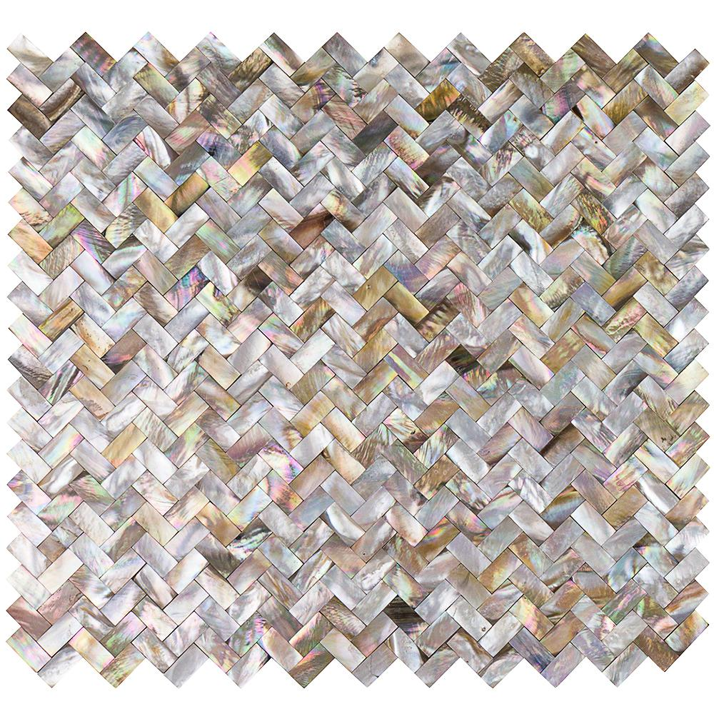 Splashback Tile Lokahi Brume Gold Herringbone Pearl Shell