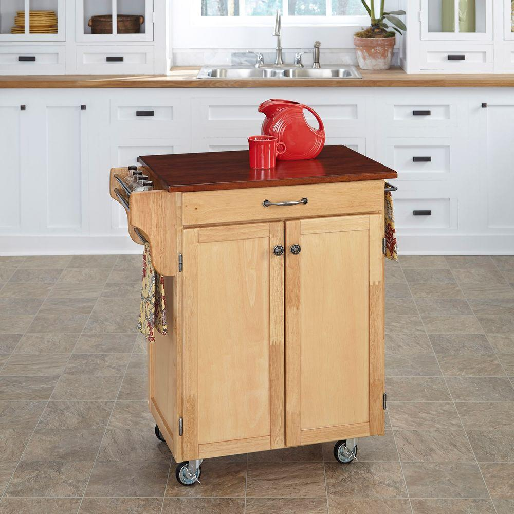 Home Styles Cuisine Cart Natural Kitchen Cart With Oak Top