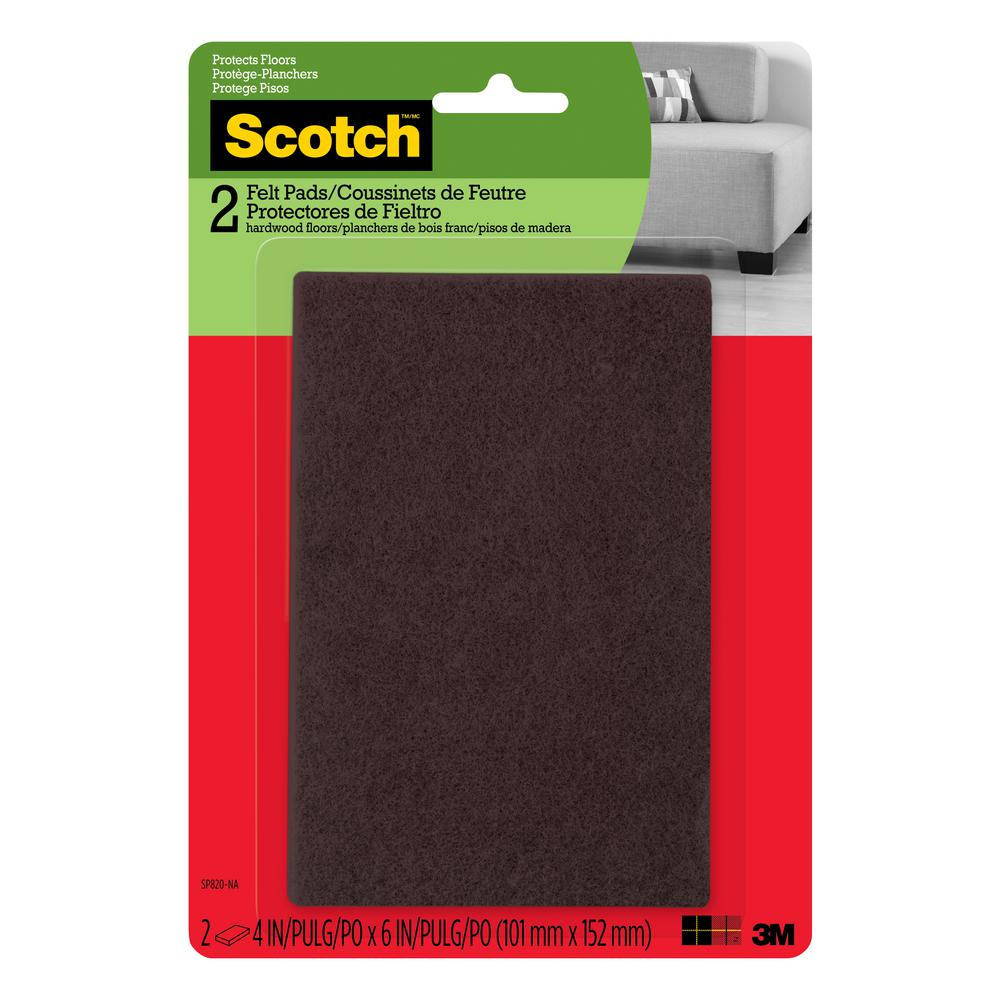 4 in. x 6 in. Brown Rectangle Surface Protection Felt Floor