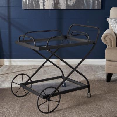Perley Black Bar Cart with Tempered Glass Shelves
