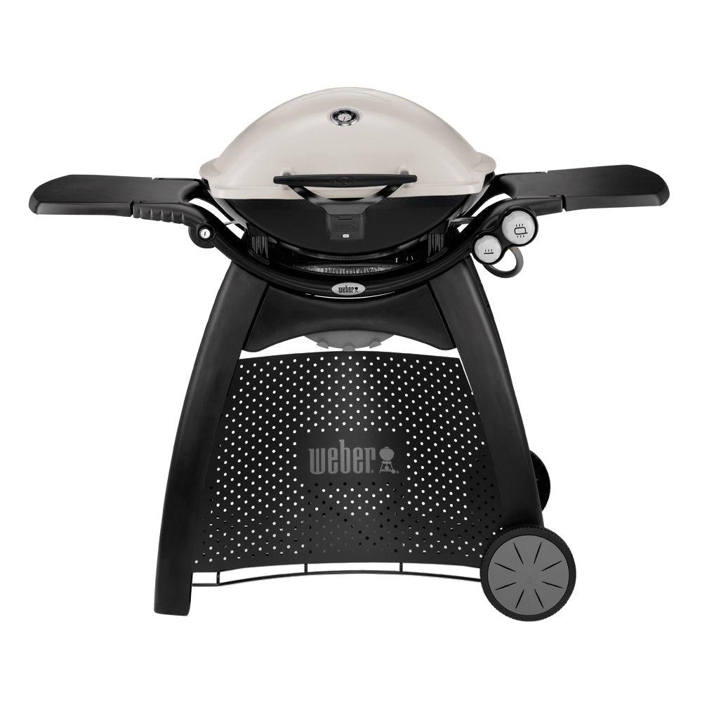 Q 3200 2-Burner Propane Gas Grill in Titanium with Built-In Thermomter