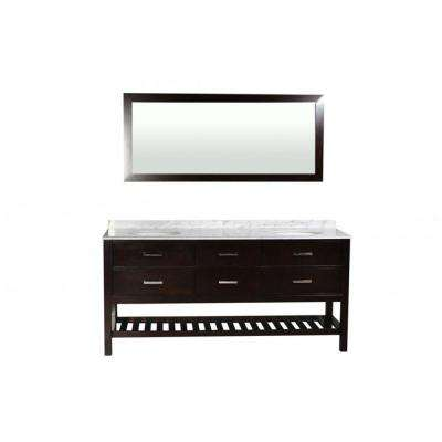 Nautica 73 in. W x 21.5 in. D Vanity in Espresso with Marble Vanity Top in Carrara White with Basins and Mirror