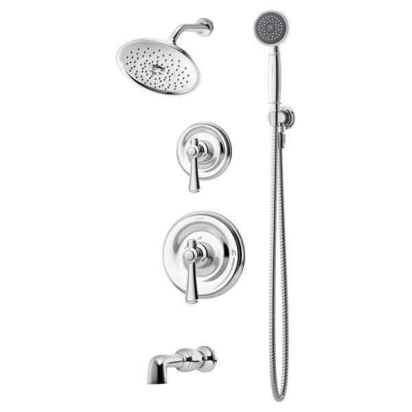 Degas 2-Handle Tub and 1-Spray Shower Trim with 1-Spray Hand Shower in Polished Chrome (Valve not Included)