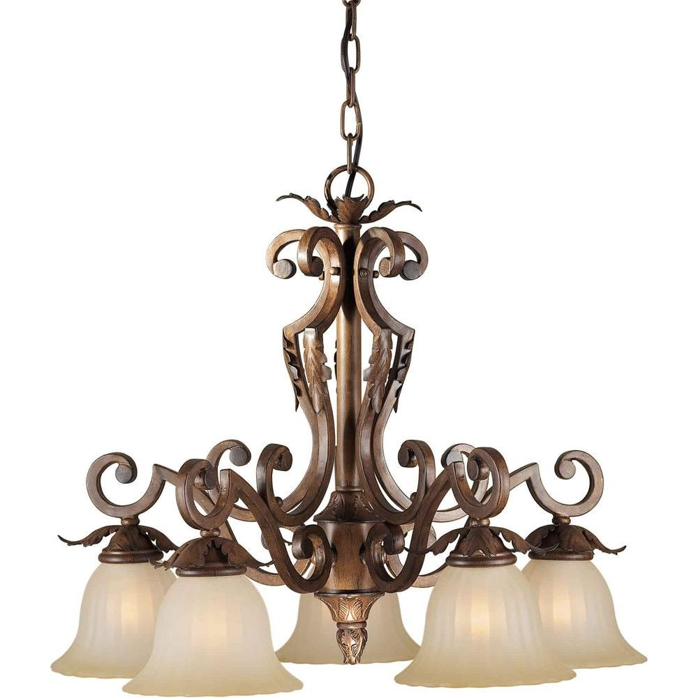 Talista 5-Light Rustic Sienna Chandelier with Umber Glass Shade