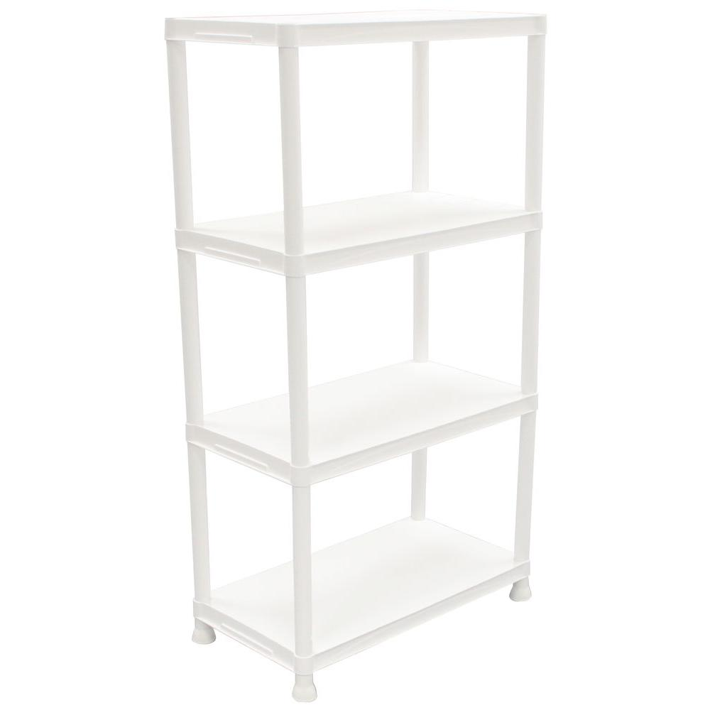 Superbe HDX 4 Shelf 15 In. D X 28 In. W X 52 In. H Black Plastic Storage Shelving  Unit 17307263B   The Home Depot