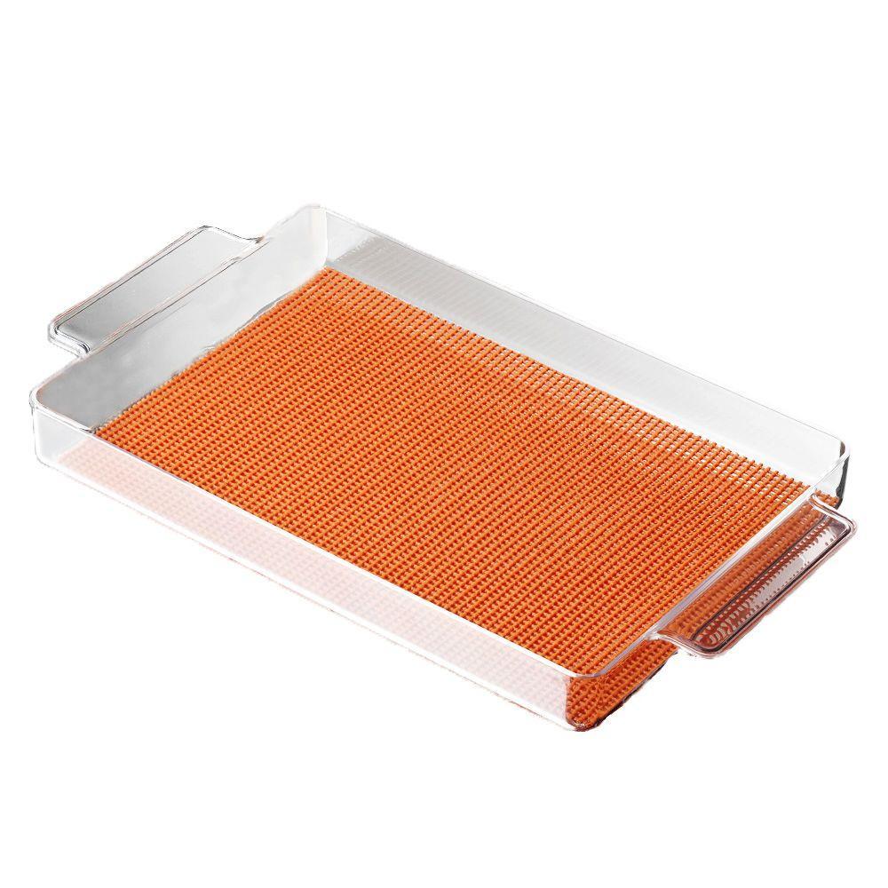 Kraftware Fishnet Rectangular Serving Tray in Spice Orange by Kraftware