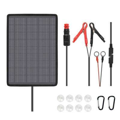 10-Watt 18-Volt Outdoor Portable Monocrystalline Solar Panel Battery Maintainer Trickle Charger