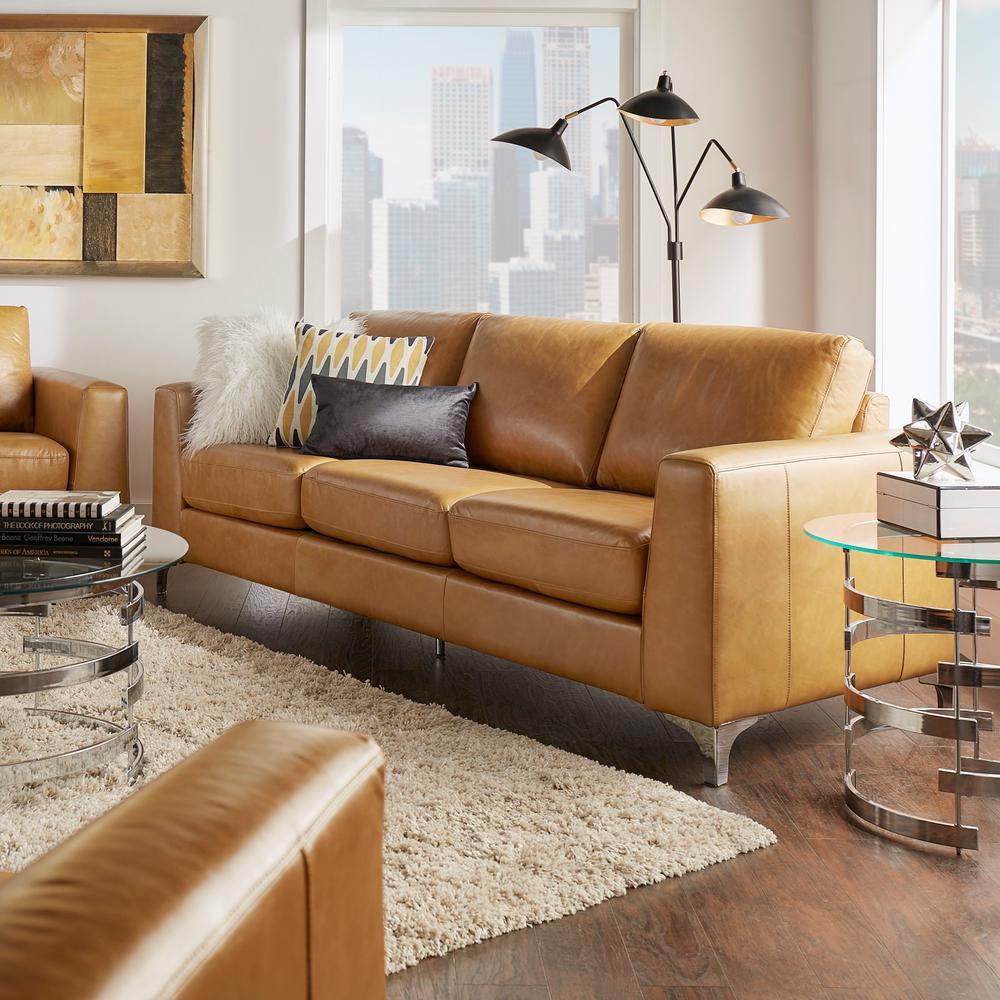 HomeSullivan Russel 1-Piece Caramel Leather Sofa-40E938CM