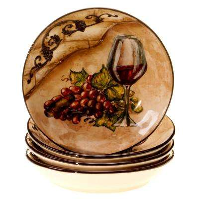 The Tuscan View Collection Beige Salad and Pasta Bowl (Set of 4)