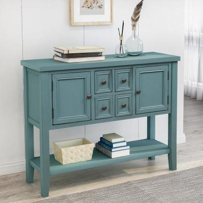46 in. Dark Blue Standard Rectangle Wood Console Table with 4-Storage Drawers