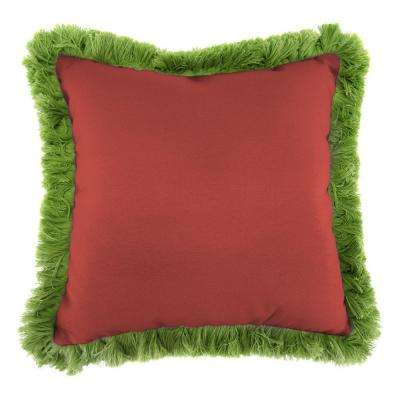 Sunbrella Canvas Henna Square Outdoor Throw Pillow with Gingko Fringe