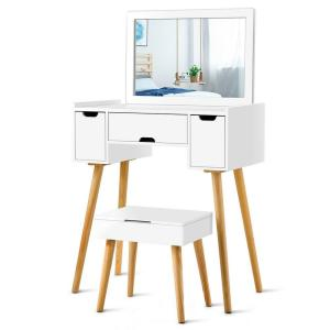 Cool Costway White Vanity Set W 3 Drawers Large Mirror Makeup Caraccident5 Cool Chair Designs And Ideas Caraccident5Info