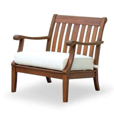 Wales Solid Wood Outdoor Lounge Chair with White Cushion (2-Pack)