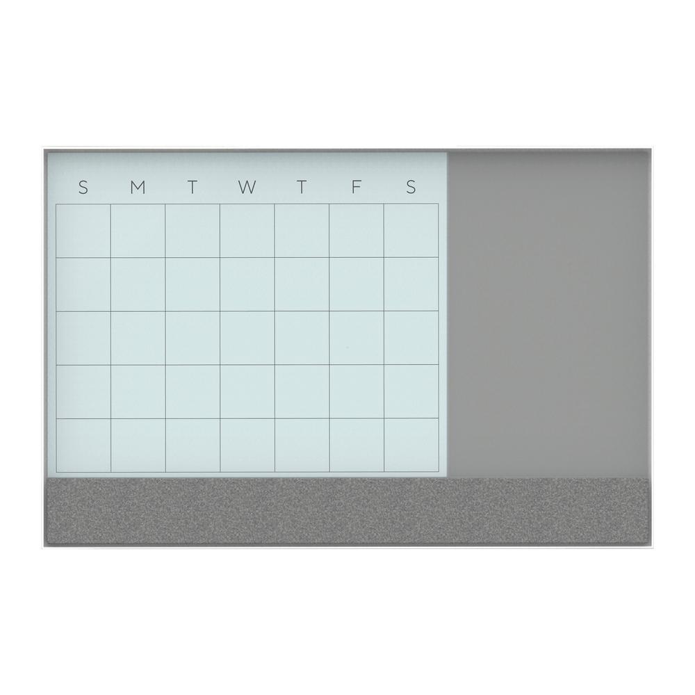 35 in. L x 23 in W. White Aluminum Frame 3N1 Glass Dry Erase Memo Board