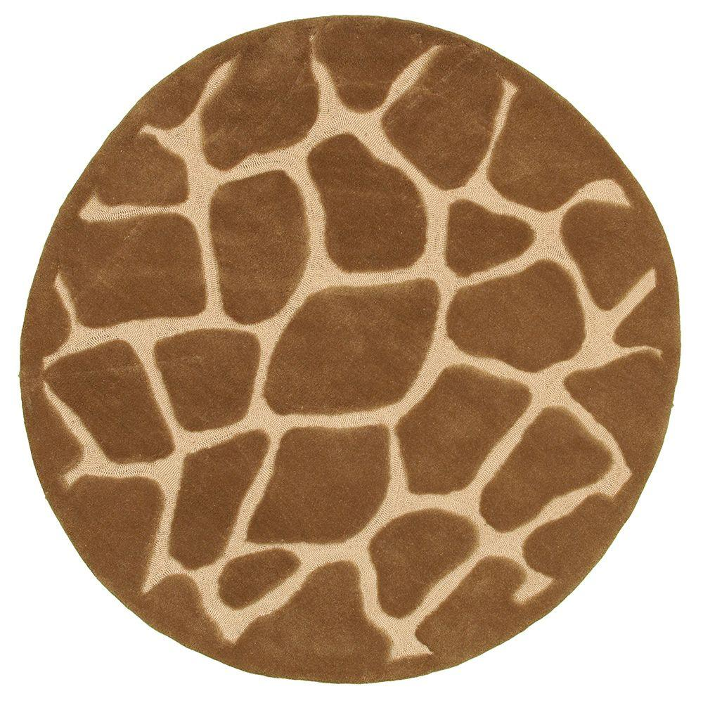 LR Resources Fashion Natural 5 ft. x 5 ft. Luxurious Round Indoor Area Rug