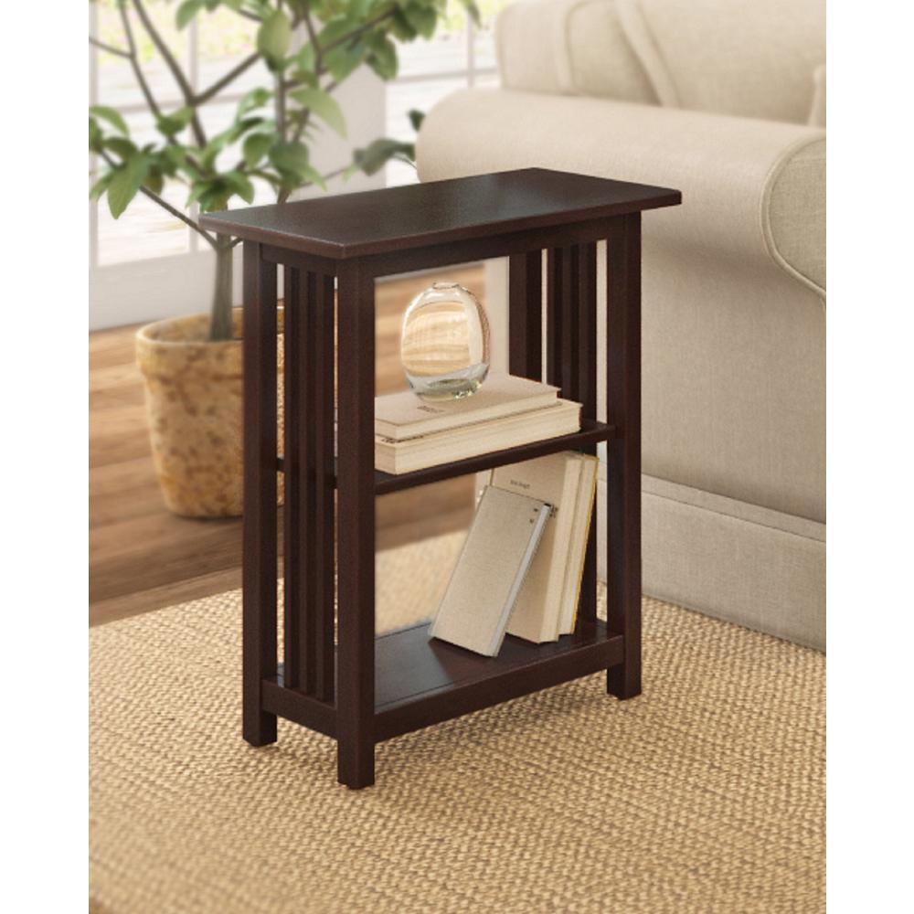 Espresso 2-Shelf End Table