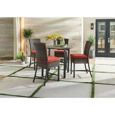 Harper Creek Dark Brown 5 Piece Wicker Outdoor Bar Height Dining Set With Chili Cushions