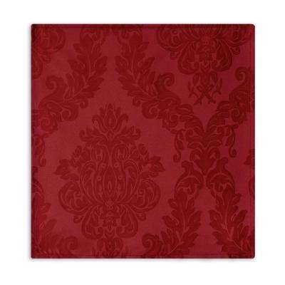 60 in. W x 120 in. L Red Elrene Barcelona Damask Fabric Tablecloth