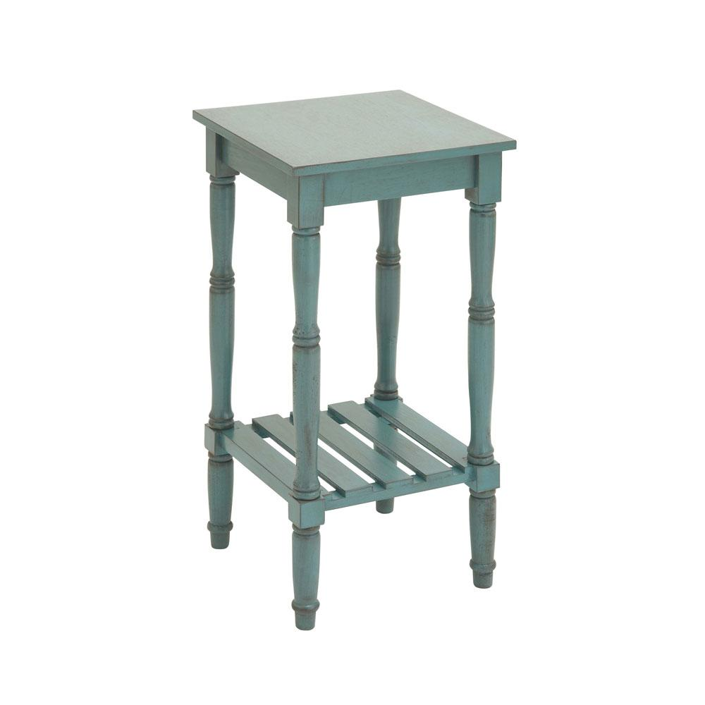 Distressed Teal Square Wooden Side Table With Slatted Bottom Shelf