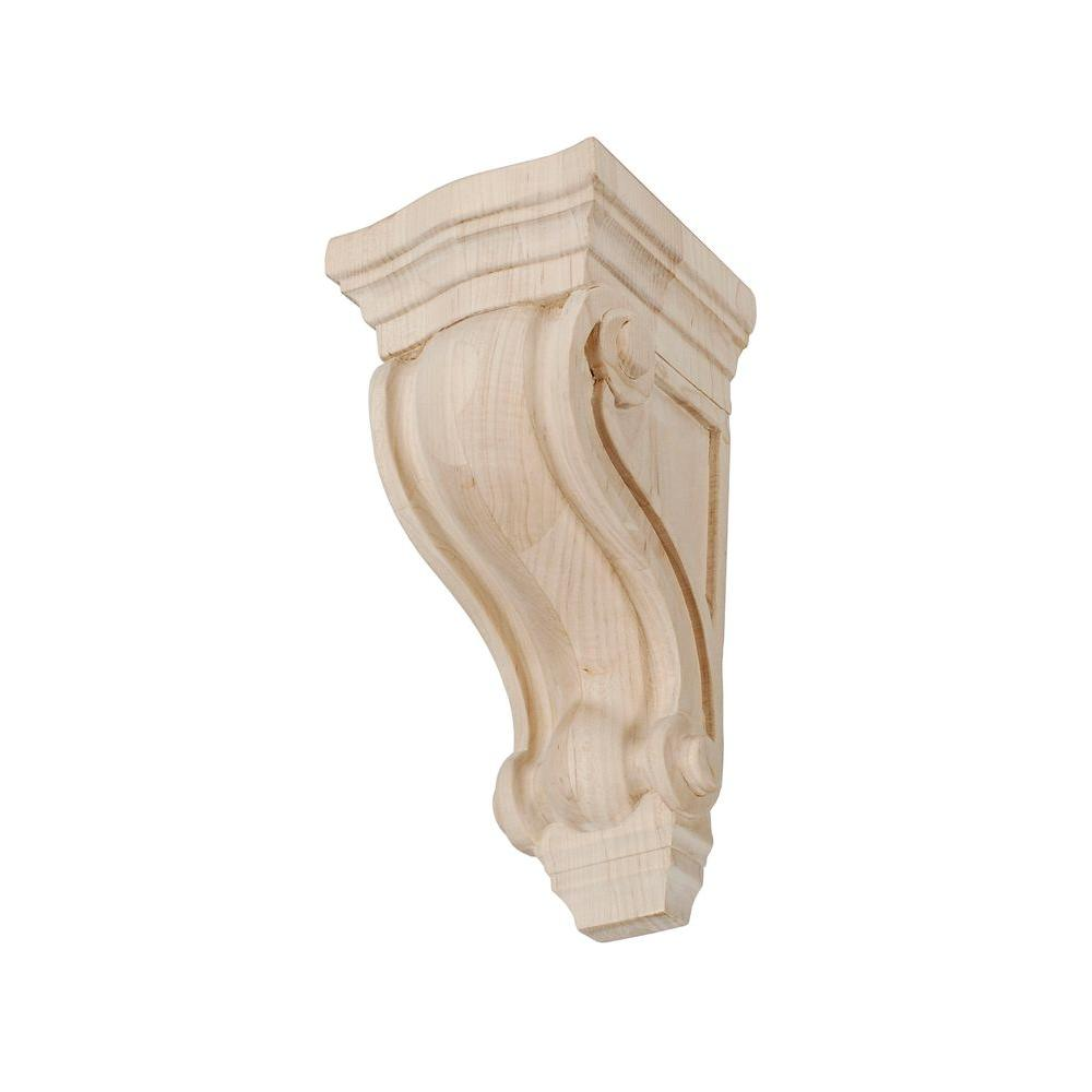 American Pro Decor 7-1/8 in. x 3-5/8 in. x 3-5/8 in. Unfinished Small North American Solid Hard Maple Classic Traditional Plain Wood Corbel
