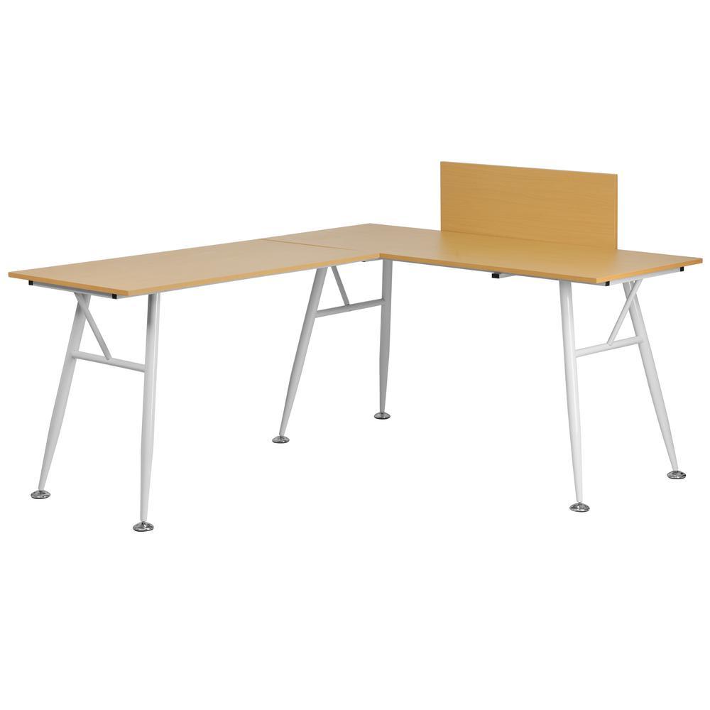 Flash Furniture Beech Laminate L-Shape Computer Desk with White Frame Finish