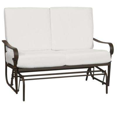 Oak Cliff Brown Steel Outdoor Patio Glider with CushionGuard Chalk White Cushions