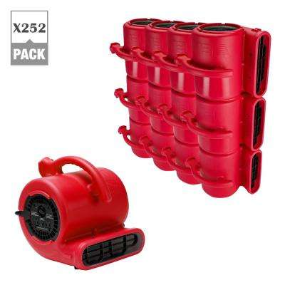 1/4 HP Air Mover for Water Damage Restoration Plumbing Carpet Dryer Floor Blower Fan in Red (252-Pack)