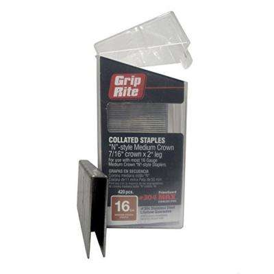 2 in. x 16-Gauge 304 Stainless Steel N-style Medium 7/16 in. Crown Staples (500 per Box)