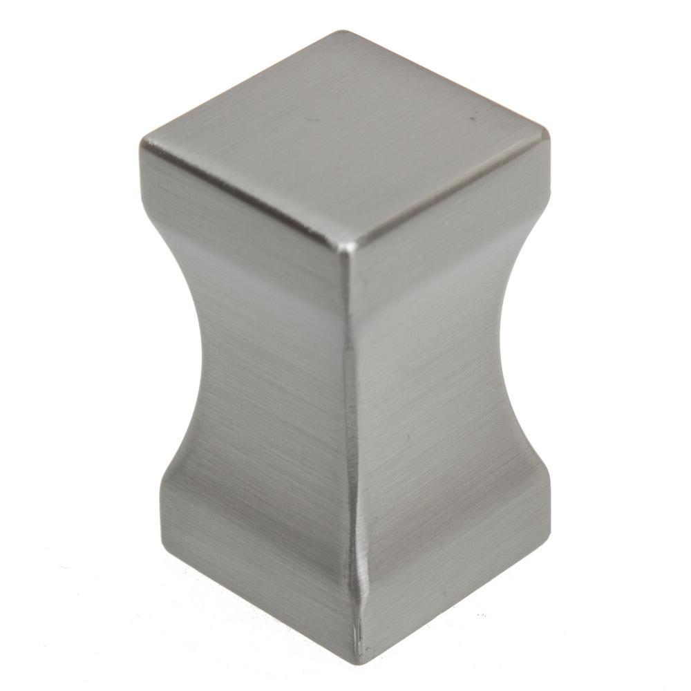 3/4 in. Dia Concave Block Satin Nickel Cabinet Knobs (10-Pack)
