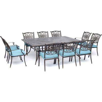 Traditions 11-Piece Aluminum Outdoor Dining Set with Blue Cushions