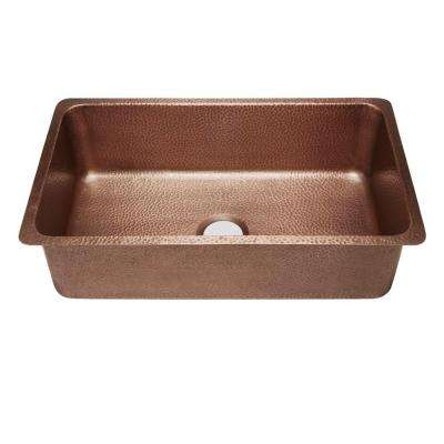 David Luxury Undermount Handmade Solid Copper 31 in. Single Bowl Kitchen Sink in Antique Copper