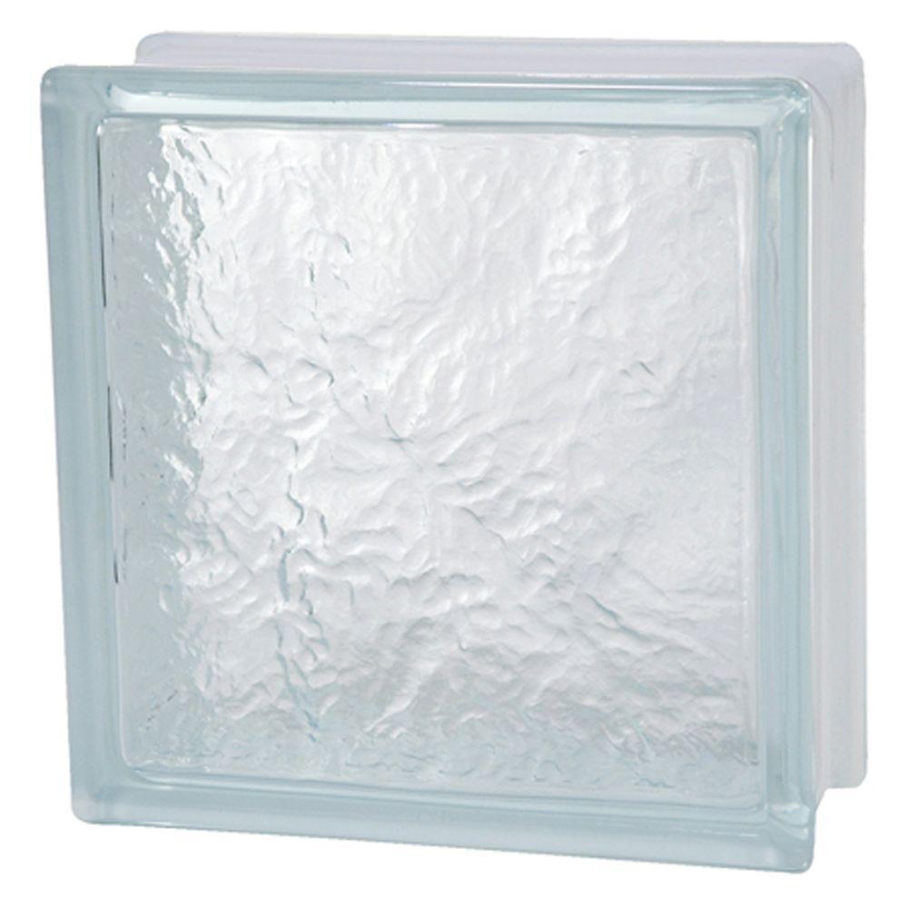 8 in. x 8 in. x 3-1/8 in. Ice Pattern Glass Block 6/CA