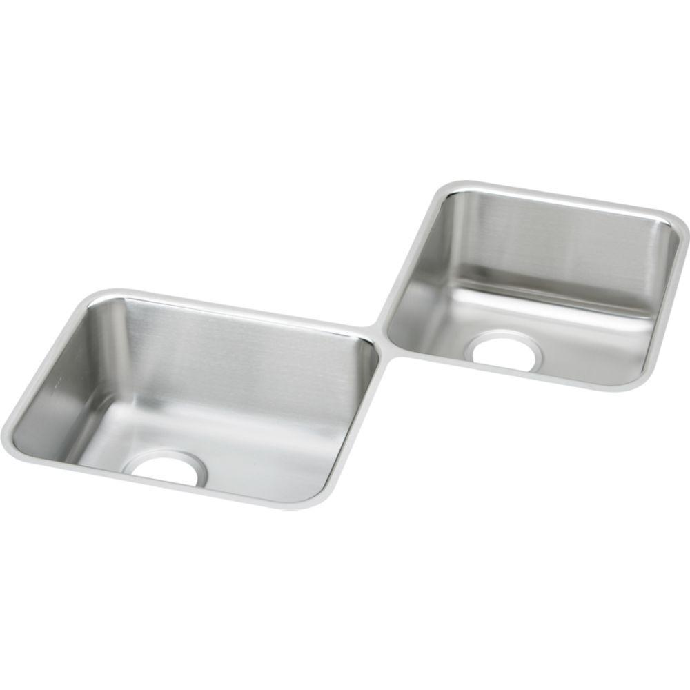 Elkay Ertone Undermount Stainless Steel 32 In 3 Hole Double Bowl Kitchen Sink