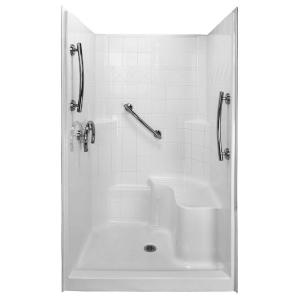 Ella Freedom 36.75 inch x 48 inch x 79.5 inch 3-piece Low Threshold Shower System in White with Right Side Seat by Ella