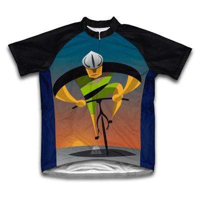 Unisex Medium Black/Blue Unstoppable Microfiber Short-Sleeved Cycling Jersey