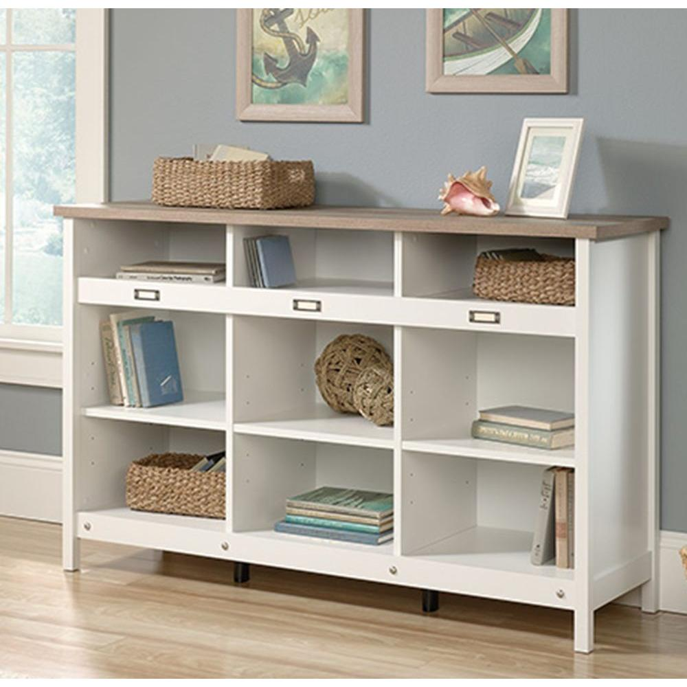 SAUDER Adept Soft White Storage Furniture The Home Depot - Bookcase console table