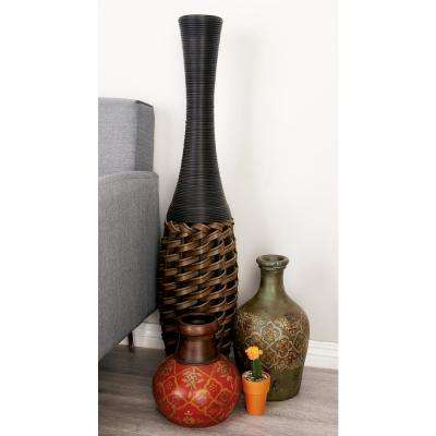 40 in. Global-Inspired Brown Woven Rattan Decorative Vase