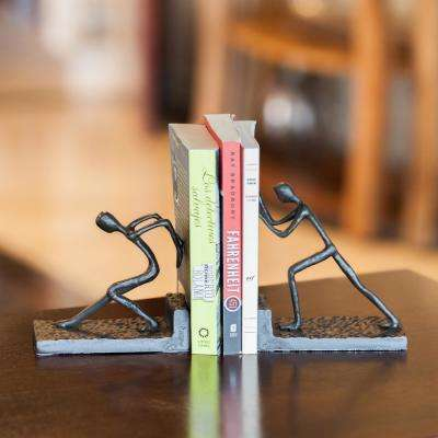 Men Pushing Dark Brown Cast Iron Bookends (Set of 2)