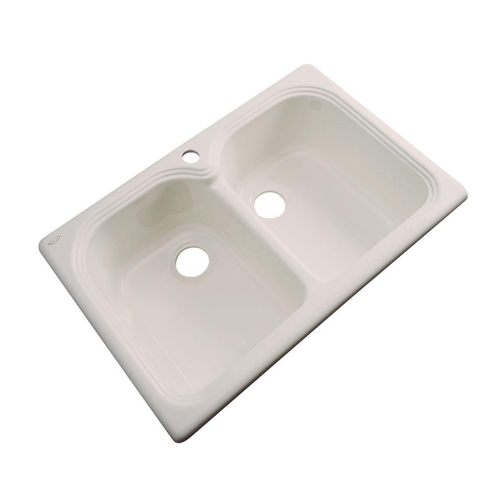 Thermocast Hartford Drop-In Acrylic 33 in. 1-Hole Double Bowl Kitchen Sink in Shell