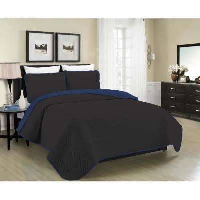 Reversible Austin 3-Piece Black and Navy Full and Queen Quilt Set