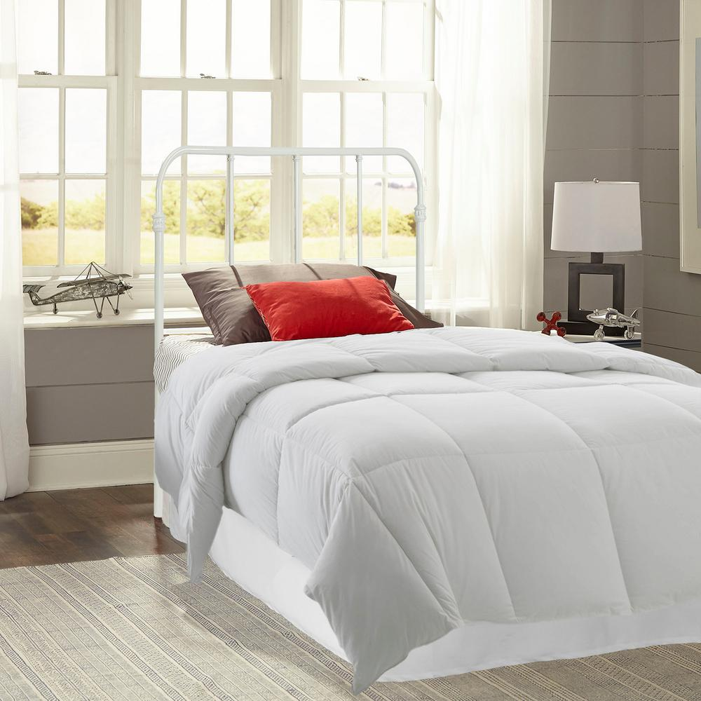 Nolan Arctic White Full Headboard with Metal Duo Panels