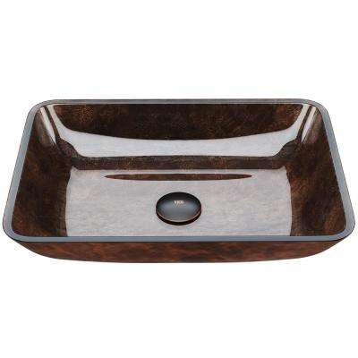Russet Handmade Countertop Glass Rectangular Vessel Bathroom Sink in Red and Brown Fusion