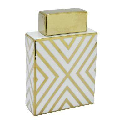6.5 in. x 2.5 in. White and Gold Porcelain Jar
