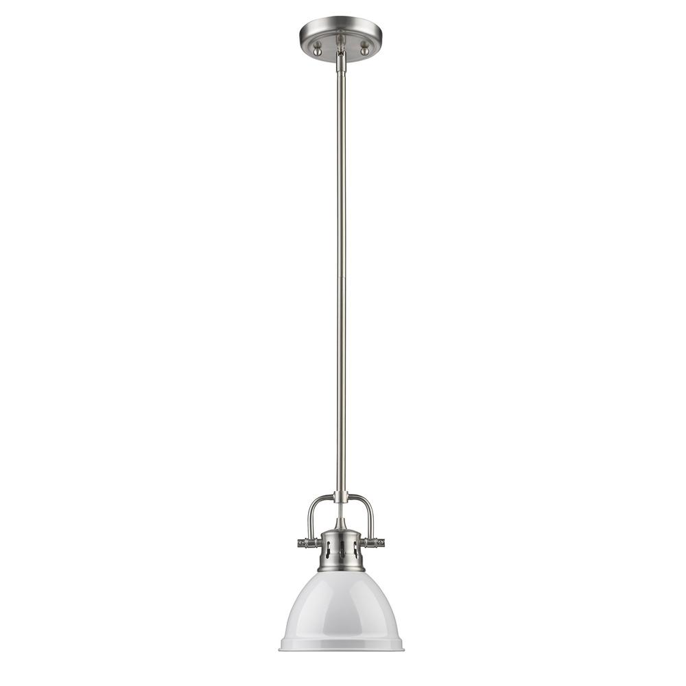 Duncan 1-Light Pewter Mini Pendant with White Shade