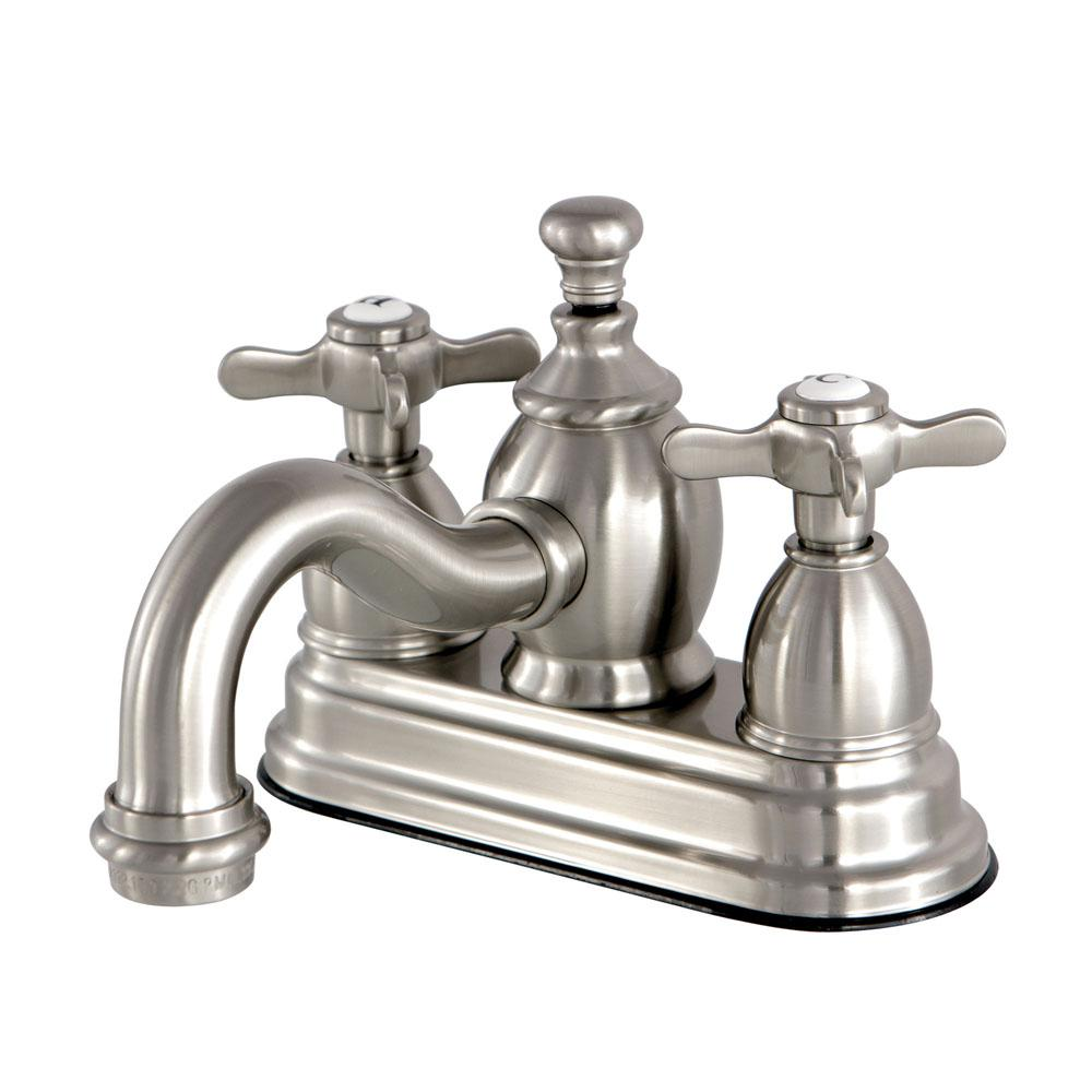 Kingston Brass French Cross 4 In Centerset 2 Handle Mid Arc Bathroom Faucet In Brushed Nickel