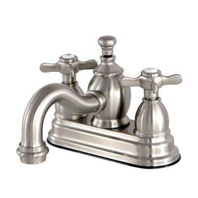 French Cross 4 in. Centerset 2-Handle Mid-Arc Bathroom Faucet in Satin Nickel