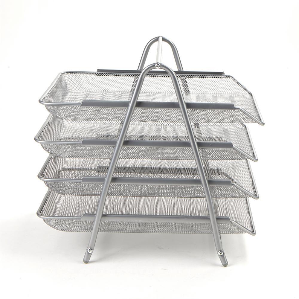 4-Tier Steel Mesh Paper Tray Desk Organizer, Silver